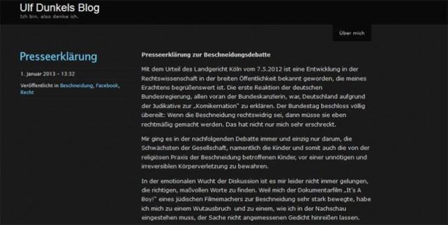 Ulf Dunkel, Grünen, Beschneidung, Religionsfreiheit, Muslime