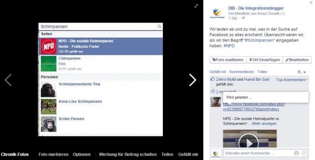 Facebook-Suchfunktion, NPD, Schimpansen, Affen